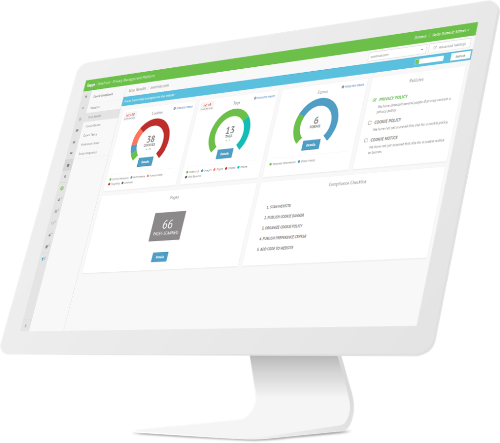OneTrust Cookie Compliance Dashboard