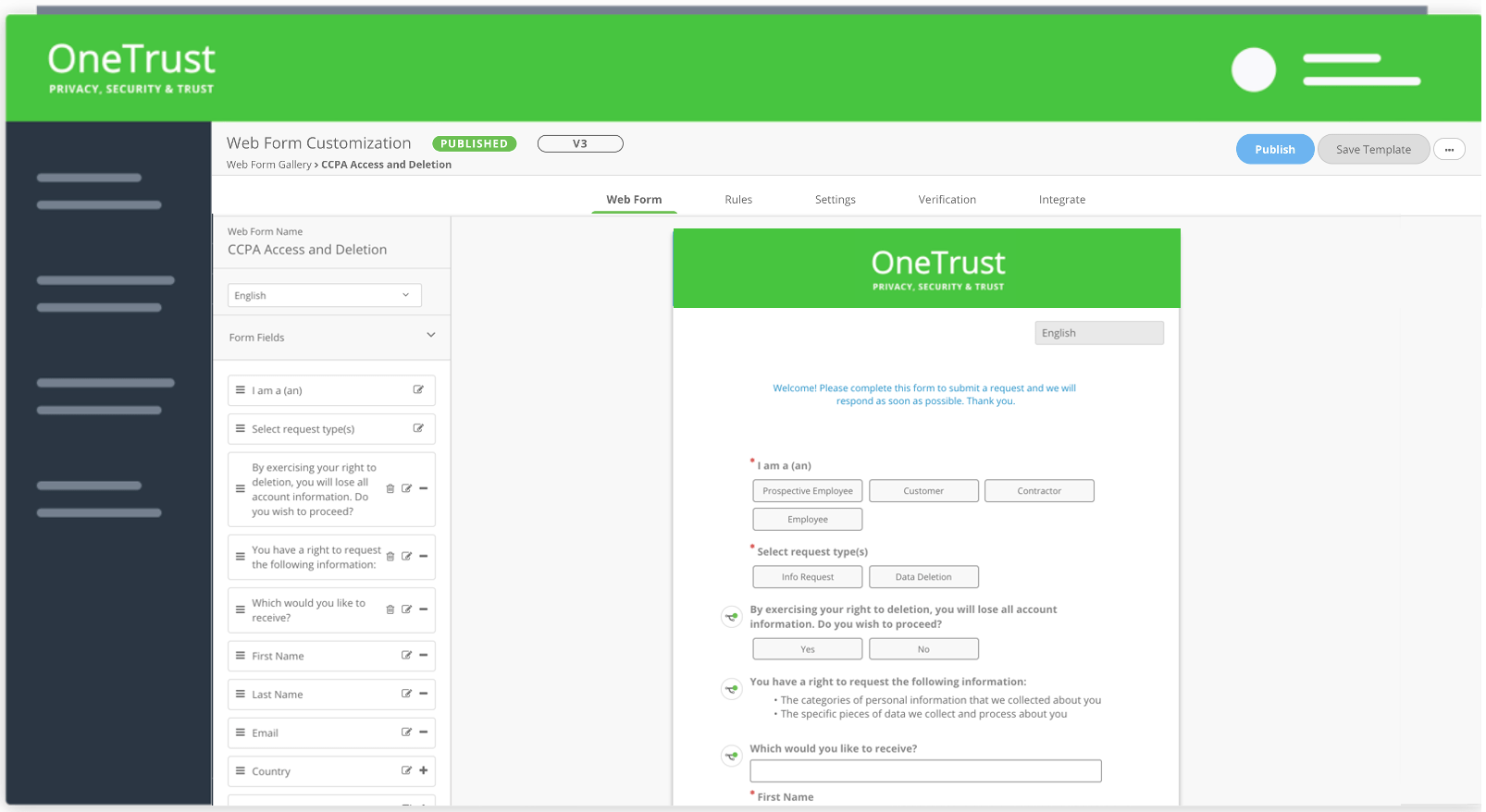 DSAR Webform Intake Template