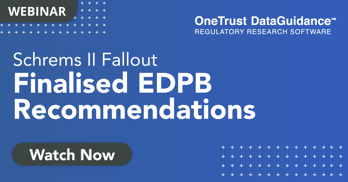 EDPB Recommendations Webinar Recording